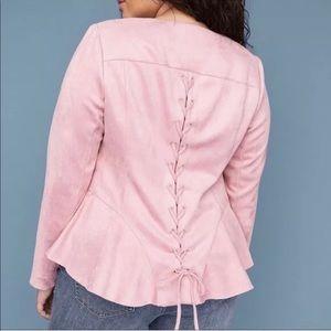 Lane Bryant Size 24 Suede Pink Lace-up Jacket NWOT